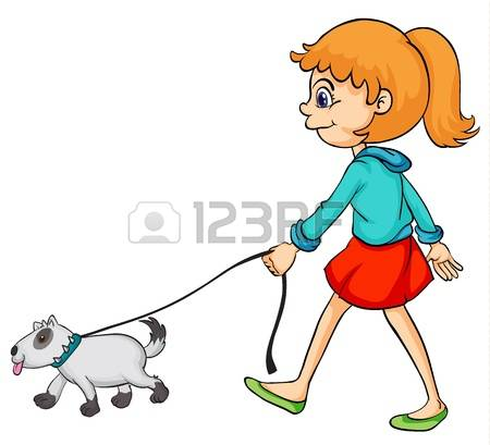 450x409 Women Clipart Walking Dog