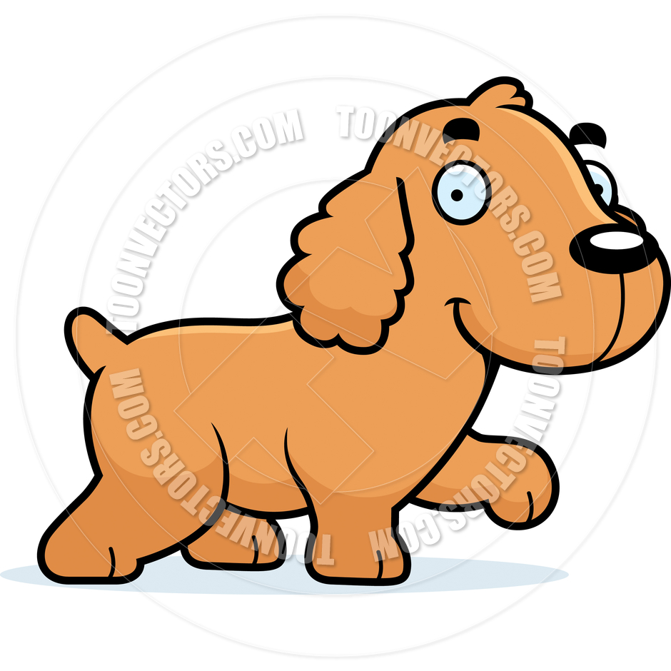 940x940 Cartoon Cocker Spaniel Dog Walking By Cory Thoman Toon Vectors