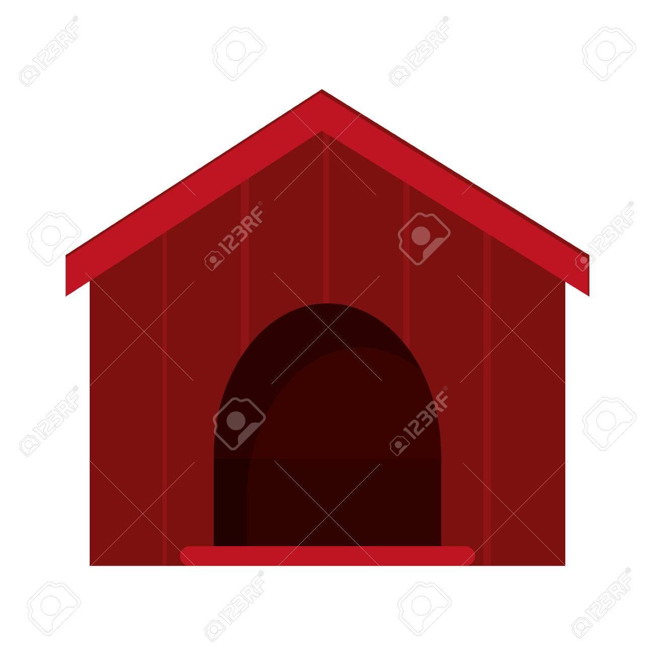 1300x1300 Flat Design Dog House Icon Vector Illustration Royalty Free