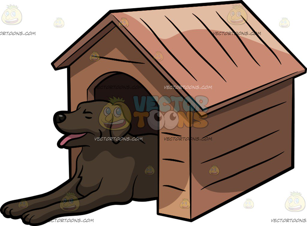 1024x752 A Big Dog In A Dog House Cartoon Clipart