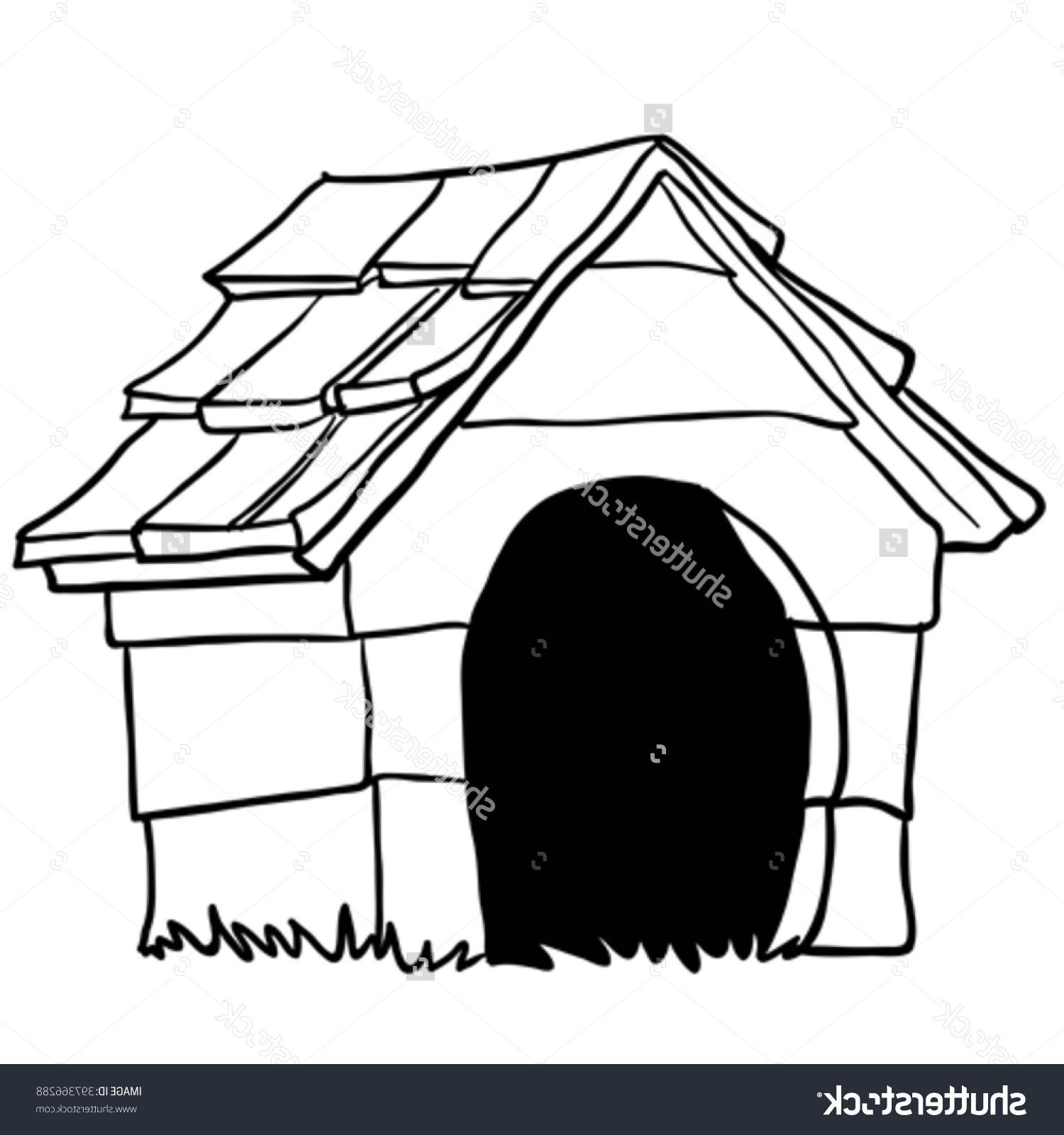 1500x1600 Best Free Stock Vector Black And White Dog House Cartoon Drawing