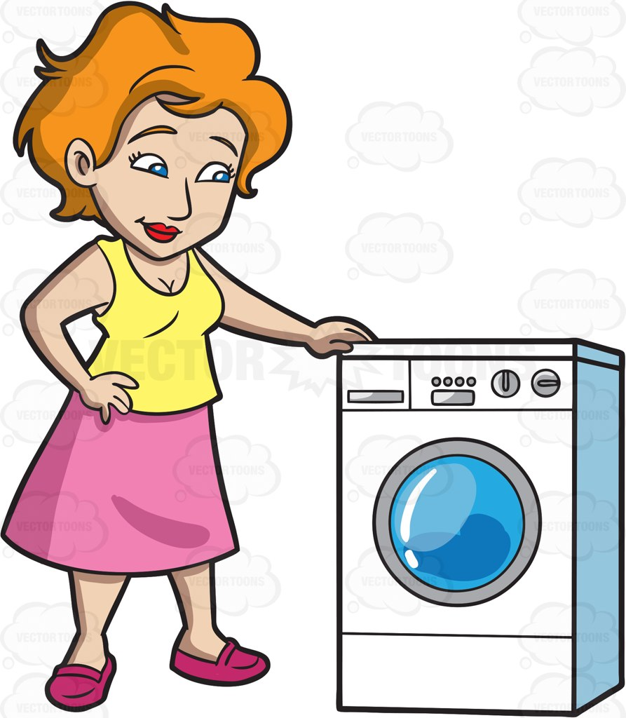893x1024 A Woman Waits For Her Laundry To Finish Cartoon Clipart