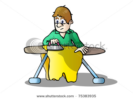 450x335 Art Illustration Of A Man Doing His Own Laundry And Ironing His