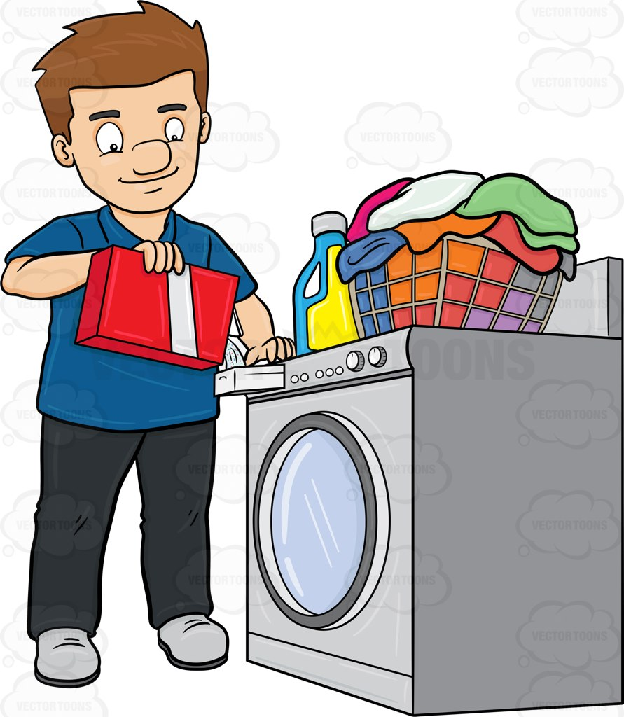 891x1024 A Man Adding A Good Measure Of Detergent Powder To His Laundry