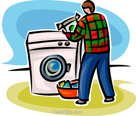 480x409 Person Doing Laundry Royalty Free Vector Clip Art Illustration