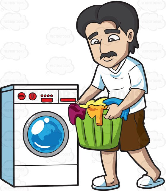 558x640 A Man Carrying Clothes For Laundry Cartoon Clipart