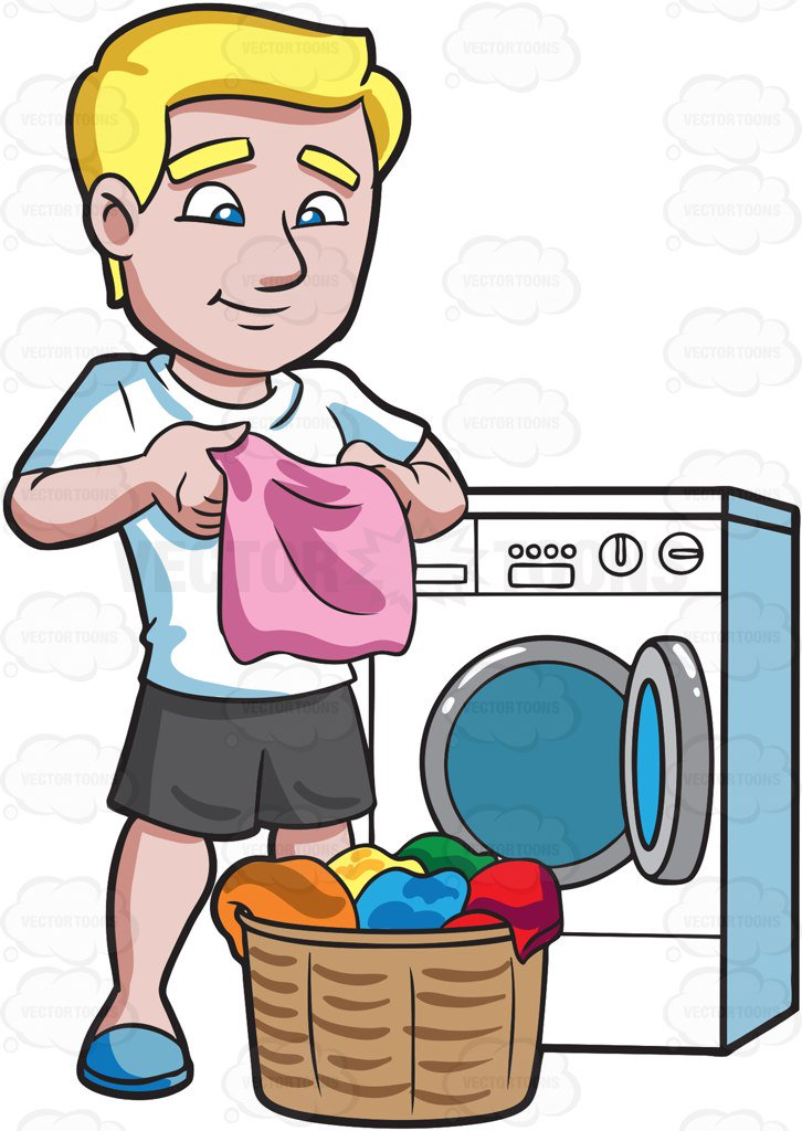 726x1024 A Man Folding Clothes After Laundry Cartoon Clipart