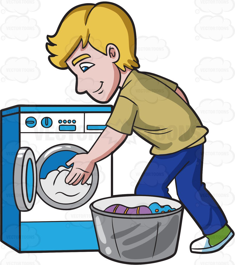 909x1024 A Man Places The Clothes In The Washing Machine Cartoon Clipart