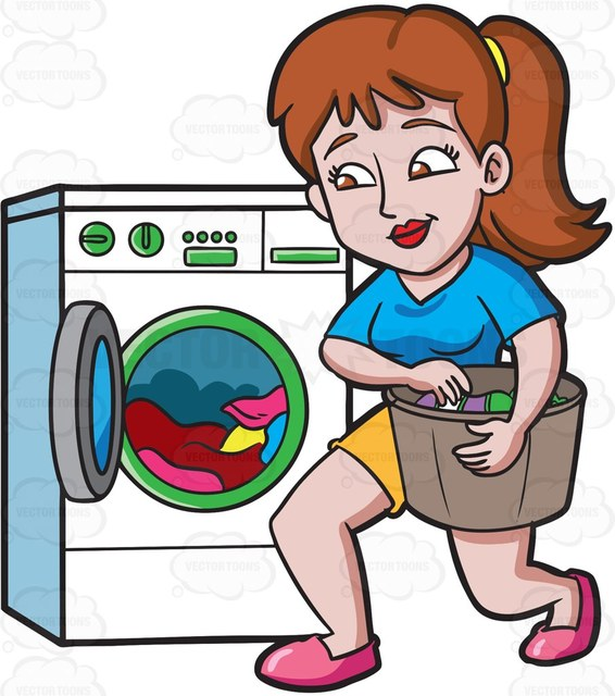 566x640 A Woman Placing Clothes In The Washing Machine Cartoon Clipart