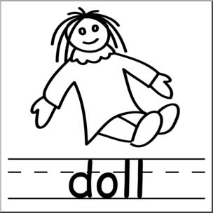 304x304 Clip Art Doll BampW I Abcteach