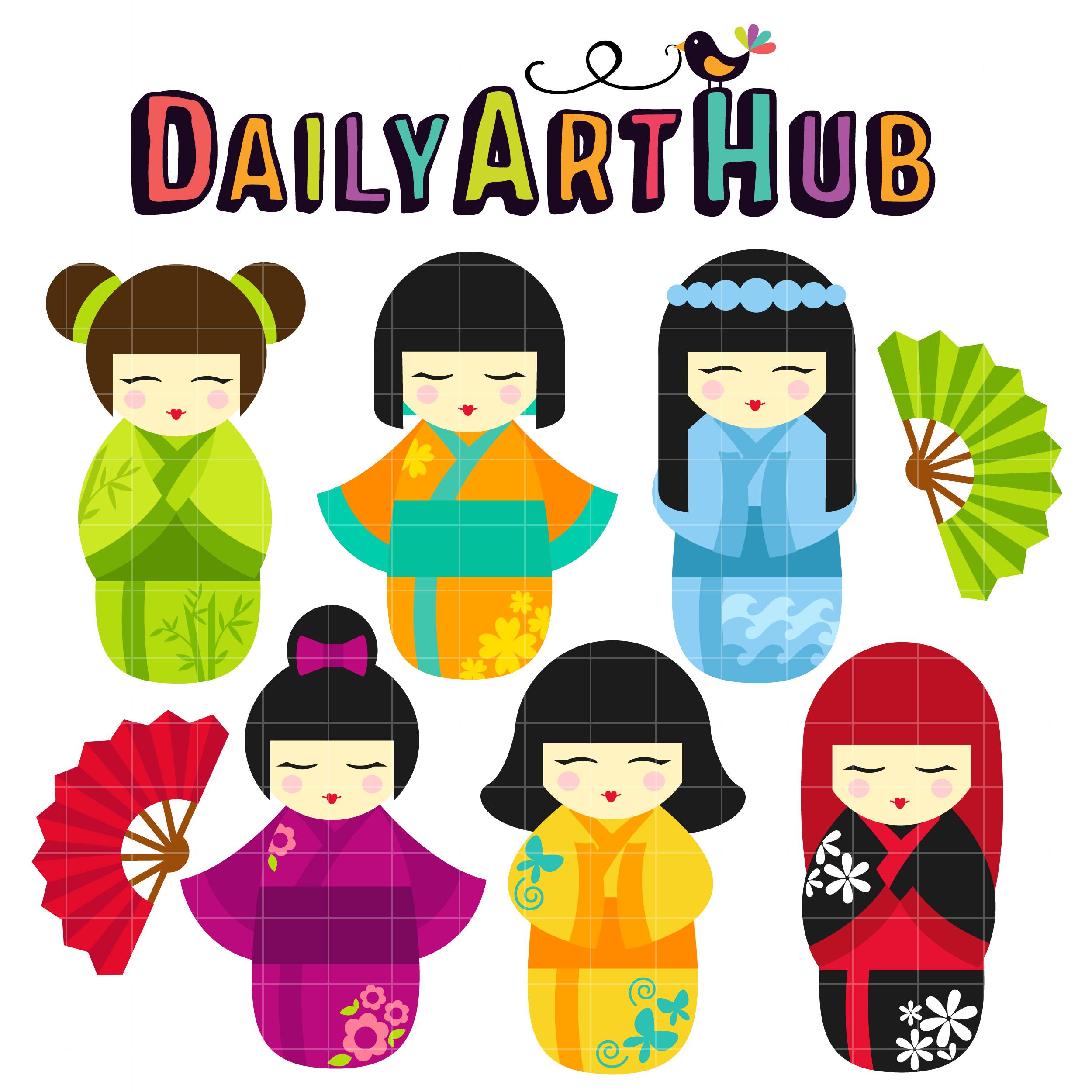 2500x2500 Kokeshi Dolls Clip Art Set Daily Art Hub