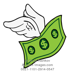 294x300 Illustration Of A Green Dollar Bill With Two White Wings