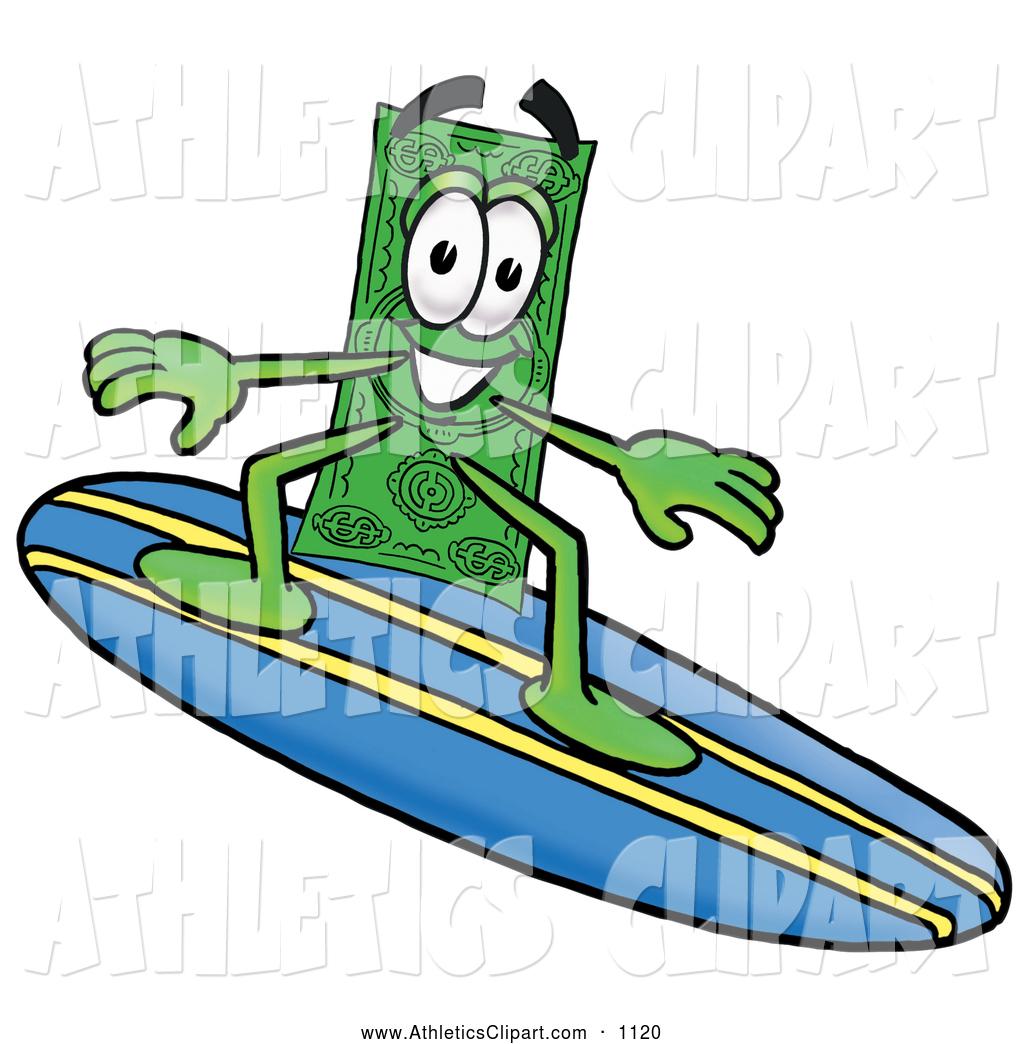 1024x1044 Clip Art Of A Cash Dollar Bill Mascot Cartoon Character Surfing