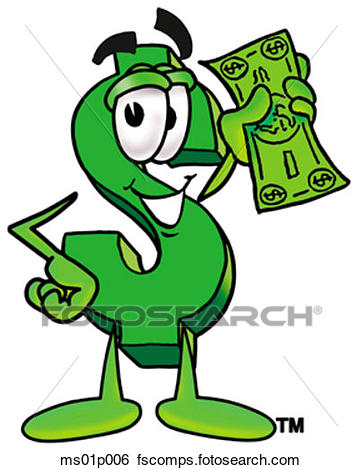 362x470 Clip Art Of Dollar Sign With Money Ms01p006