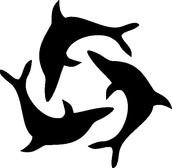 600x586 Black Dolphin Triad Clip Art