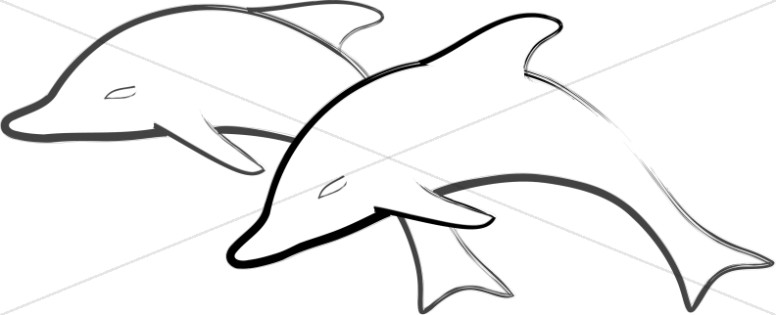 776x315 Two Simple Dolphins Jumping Nature Clipart