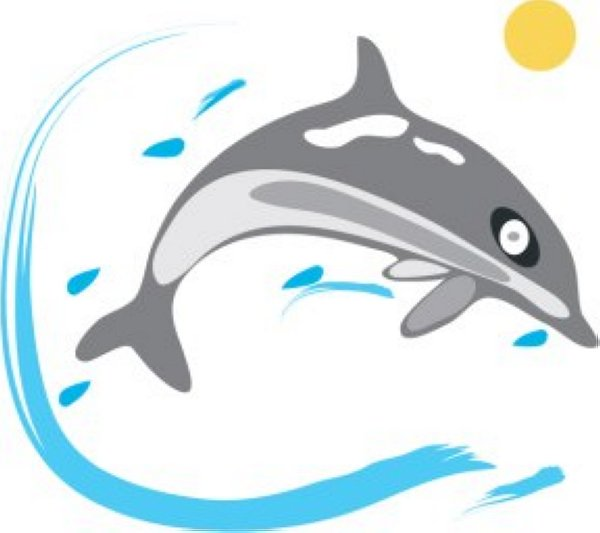 600x533 Free Simple Blue Dolphin Clip Art