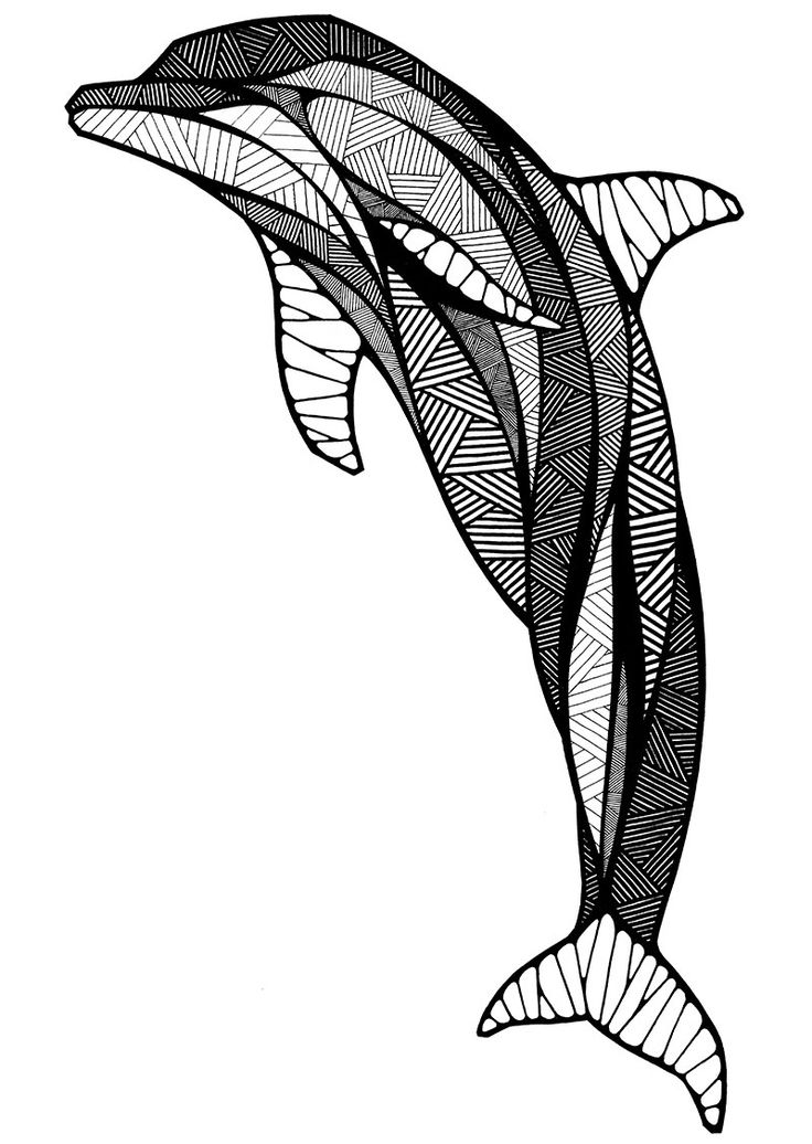 736x1036 Dolphin Inspired By Neopoprealism Art Style Colouring Pages