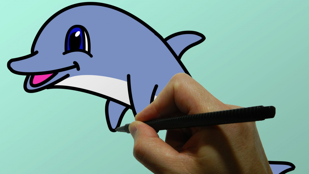 1024x576 Cartoon Dolphin Drawings Dolphin Drawings Jumping