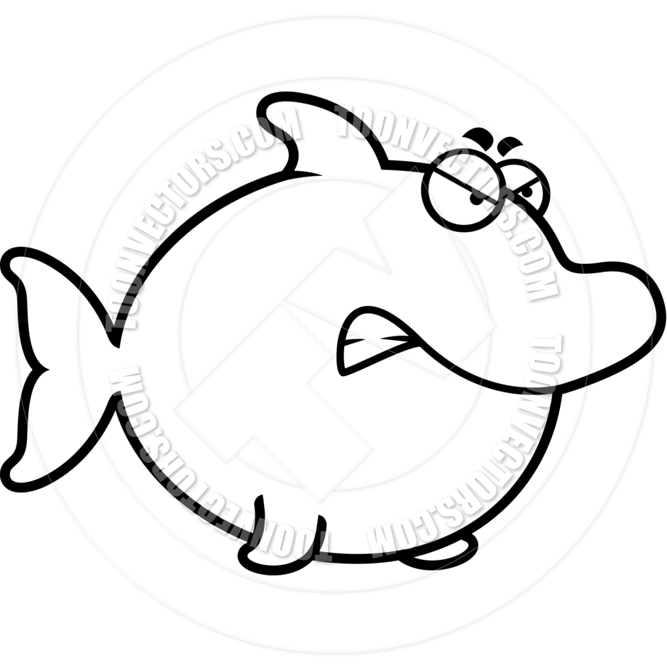 940x940 Cartoon Dolphin Angry (Black And White Line Art) By Cory Thoman