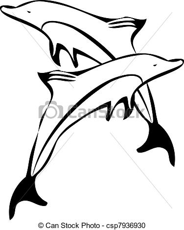 376x470 Dolphin Clipart Line Drawing