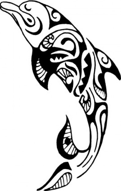 396x626 Tribal Dolphin Design Vector Free Download
