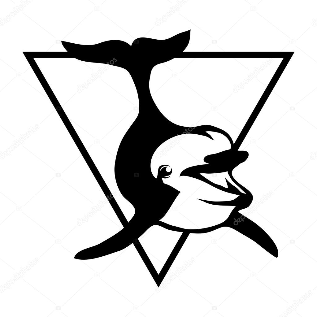 1024x1024 Black And White Dolphin Logo Stock Vector Korniakovstock@gmail