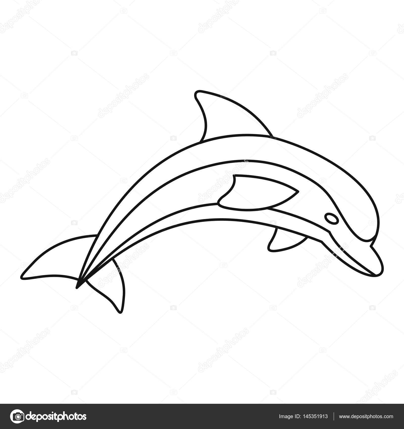 1600x1700 Dolphin Icon, Outline Style Stock Vector Ylivdesign