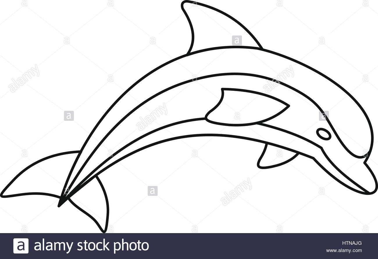 1300x890 Dolphin Icon. Outline Illustration Of Dolphin Vector Icon For Web