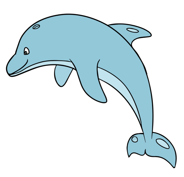 750x720 Free Simple Blue Dolphin Clip Art
