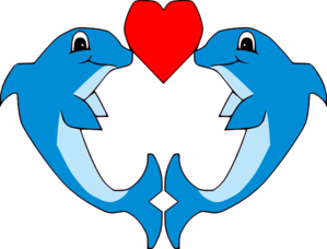 299x228 Kissing Dolphins Clip Art