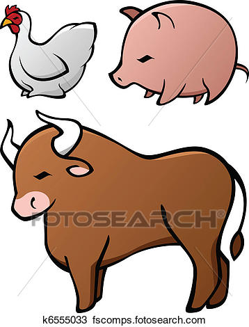 358x470 Clipart Of Domesticated Animal Set K6555033