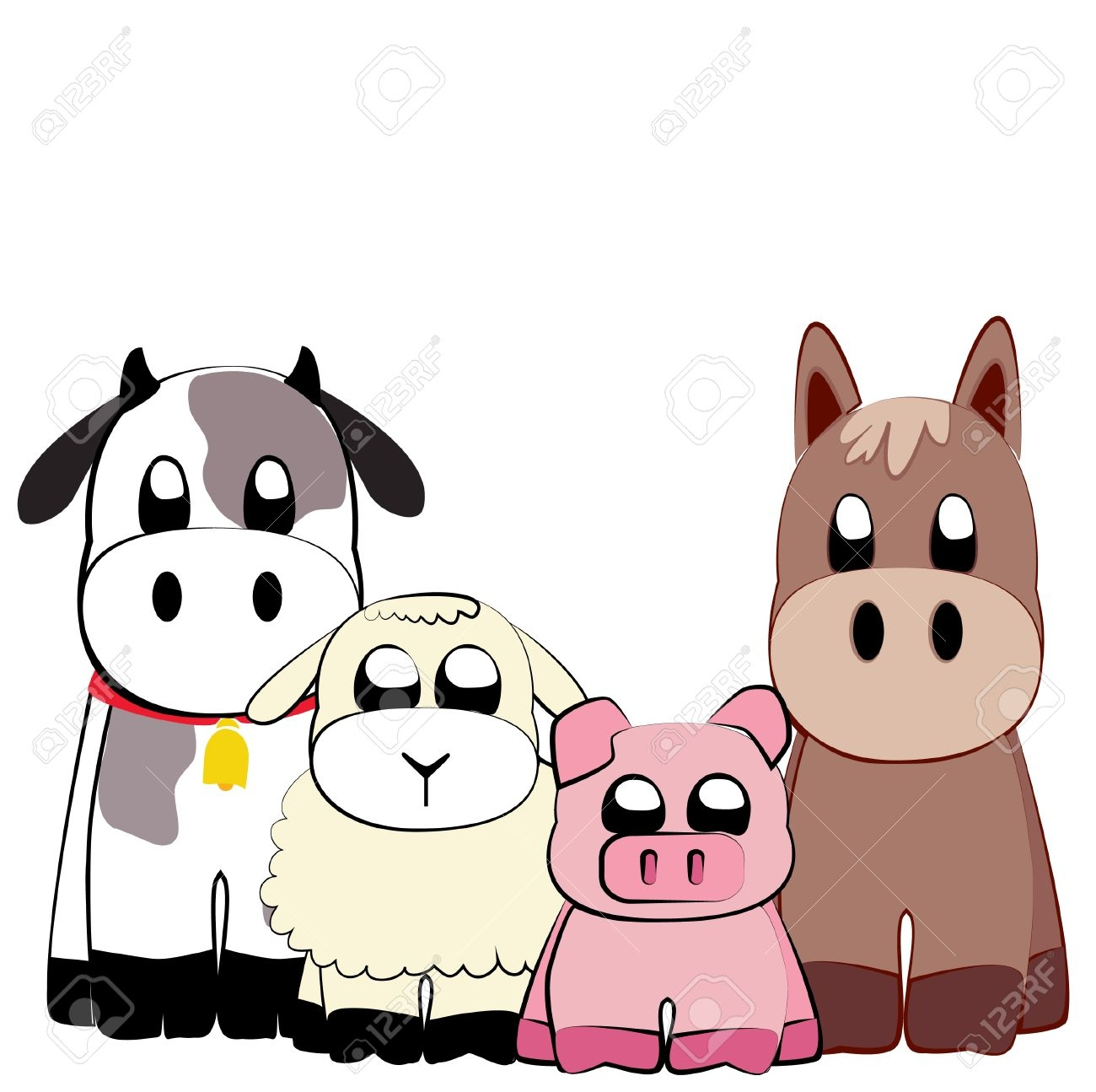 1300x1295 Farm Animals Clipart Sad