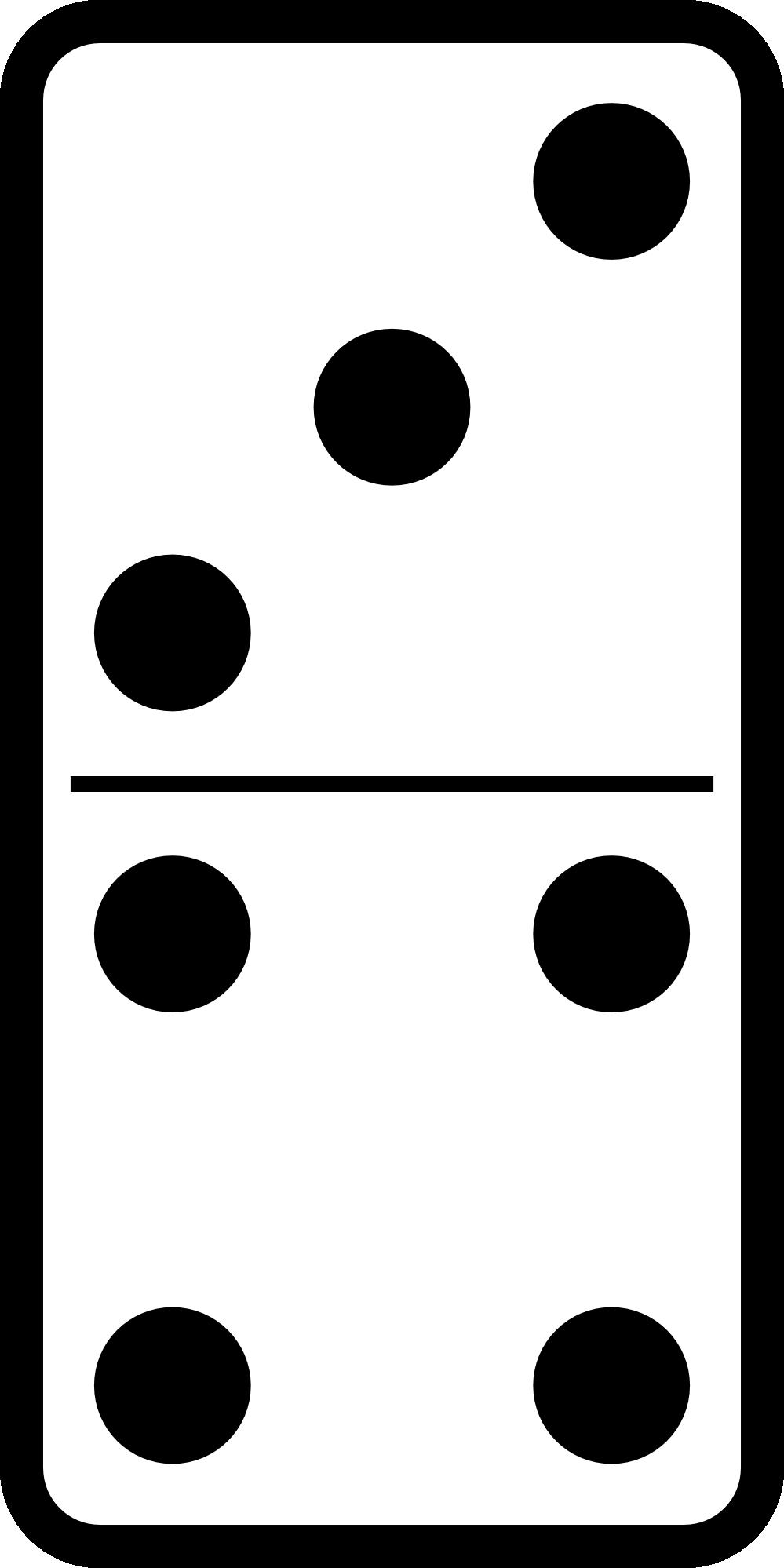 999x1998 Clip Art Domino Set 19 Black White Line Art Svg