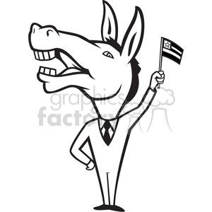 300x300 Royalty Free Black And White Donkey Democrat Waving Flag 388085