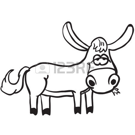450x450 Simple Black And White Donkey Cartoon Royalty Free Cliparts