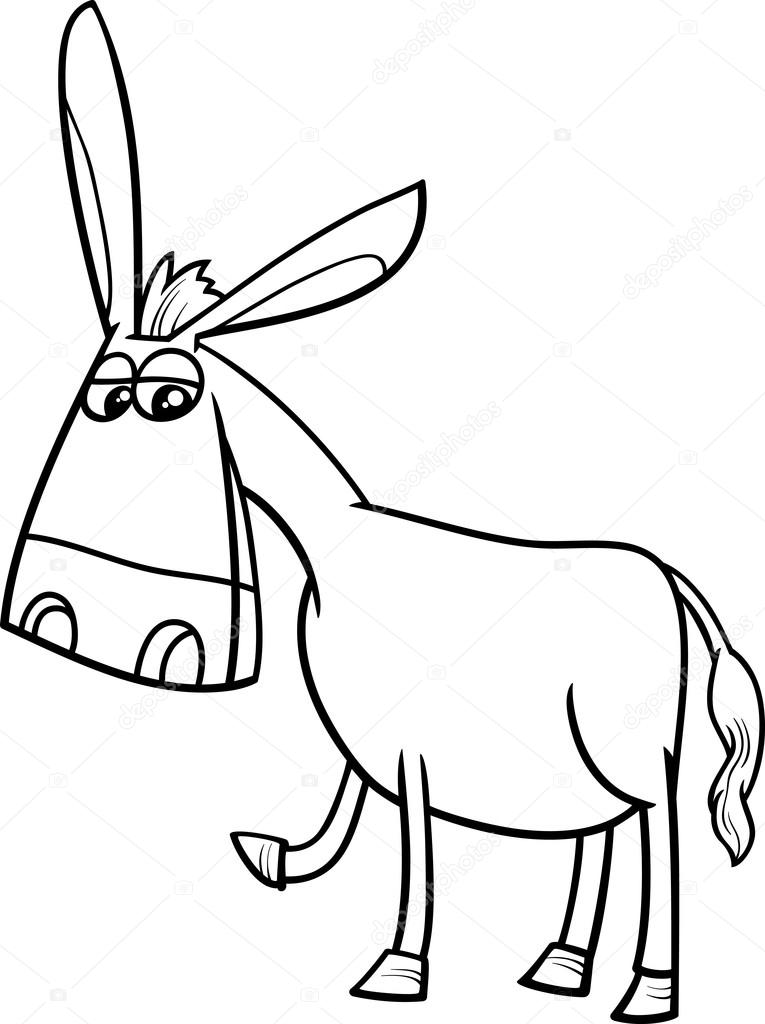 765x1024 Donkey Cartoon Coloring Book Stock Vector Izakowski