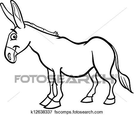 450x386 Clip Art Of Farm Donkey Cartoon For Coloring Book K12638337