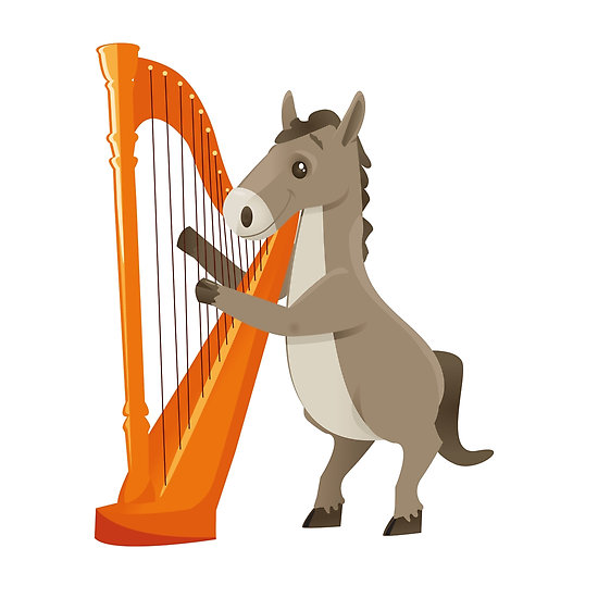 550x550 Cartoon Donkey Playing Music With Harp Posters By Berlinrob