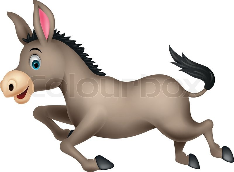 800x587 Cute Donkey Cartoon Running Stock Vector Colourbox