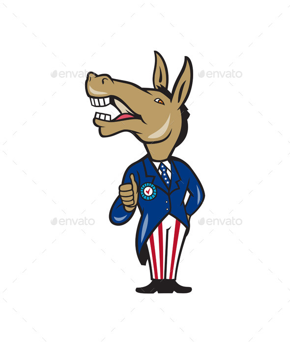 590x700 Democrat Donkey Mascot Thumbs Up Cartoon By Patrimonio Graphicriver