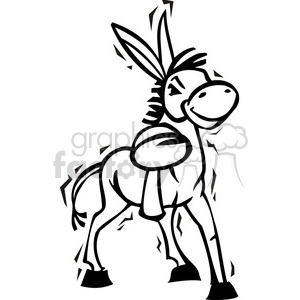 300x300 Royalty Free Black And White Democrat Cartoon Donkey 385776 Vector