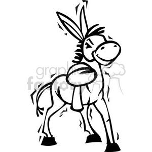 300x300 Royalty Free Black And White Democrat Cartoon Donkey 385776 Vector