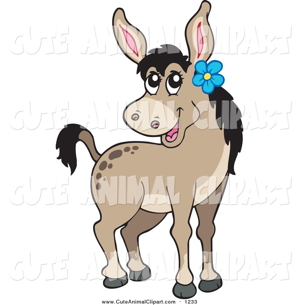 1024x1044 Vector Cartoon Clip Art of a Cute Female Donkey Wearing a Blue