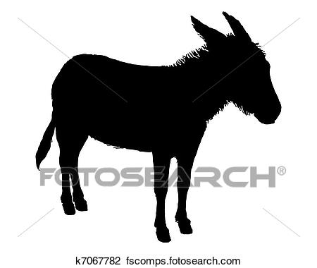 450x380 Clipart Of The Black Silhouette Of A Donkey On White K7067782