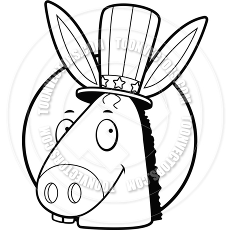 460x460 Democrat Donkey (Black And White Line Art) By Cory Thoman Toon