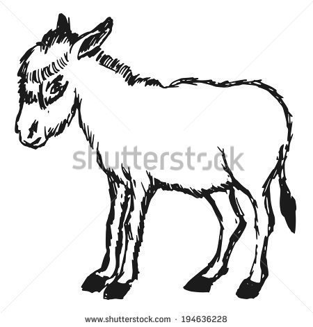 450x470 Drawn Donkey Black And White