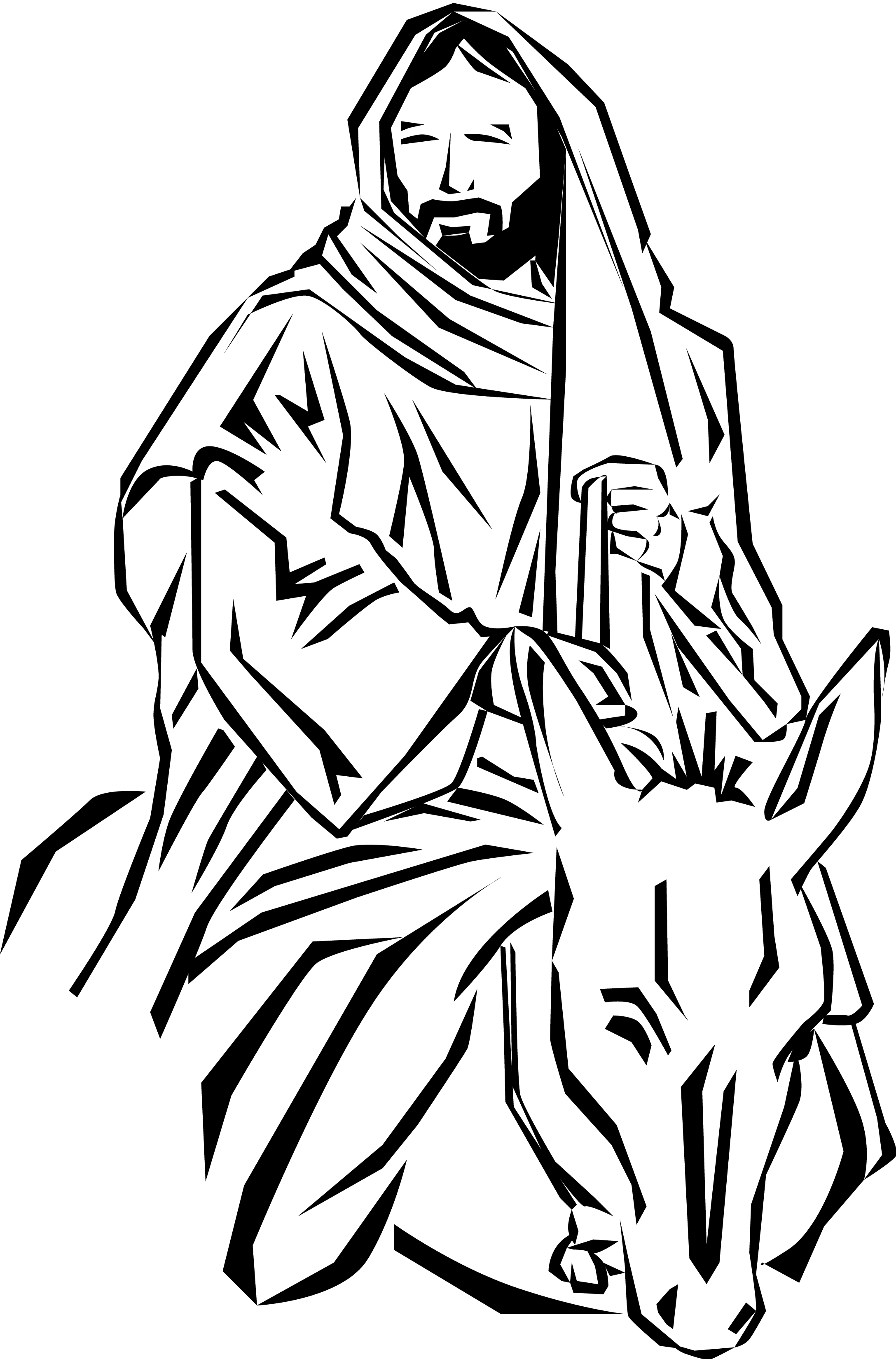 2175x3300 Jesus On Donkey Clip Art Cliparts