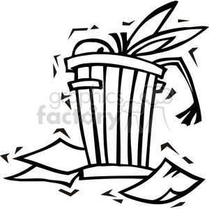 300x300 Royalty Free Black And White Democrat Donkey In A Trash Can 385747