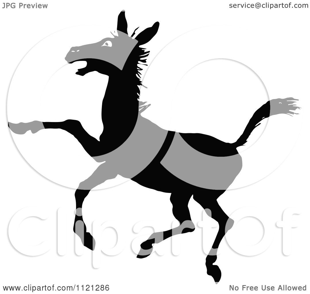 1080x1024 Clipart Of A Retro Vintage Black And White Rearing Donkey